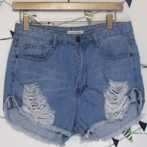 Machine Distressed Denim Ripped High Waist Shorts